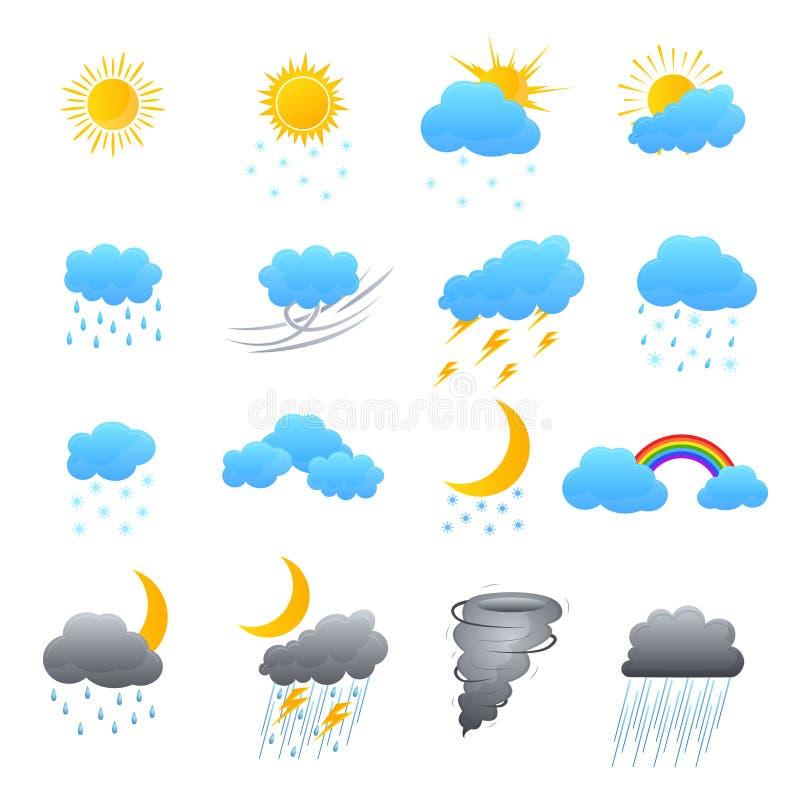 Kreskówki pogody koloru ikony Ustawiać wektor ilustracji