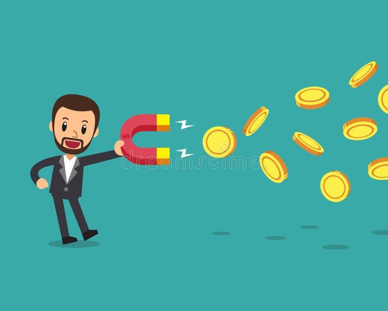 Kreskówki pojęcia biznesowy biznesmen używa magnes przyciąga pieniądze ilustracja wektor