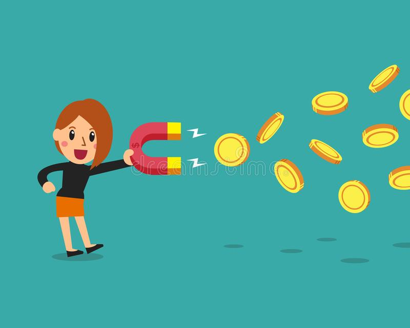 Kreskówki pojęcia biznesowy bizneswoman używa magnes przyciąga pieniądze ilustracja wektor