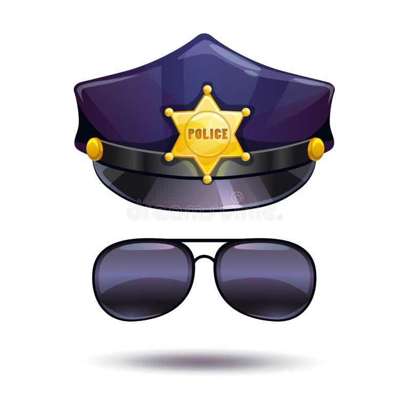 Kreskówki policja i policjantów okulary przeciwsłoneczni nakrywamy ilustracja wektor
