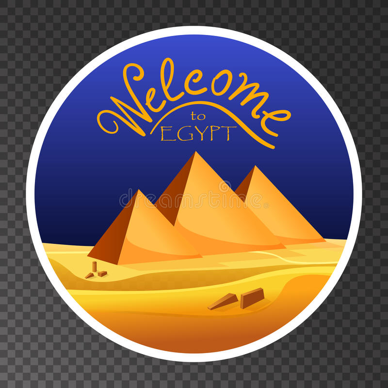 Kreskówki powitanie Egipt pojęcia logo na przejrzystym tle Egipscy ostrosłupy w pustyni z niebieskim niebem ilustracja wektor
