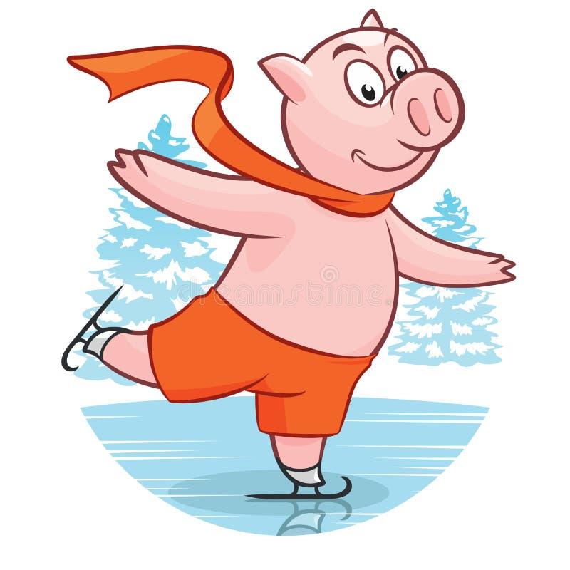 Kreskówki prosiątka śmieszny Bożenarodzeniowy łyżwiarstwo na lodowisko kartce z pozdrowieniami ilustracji