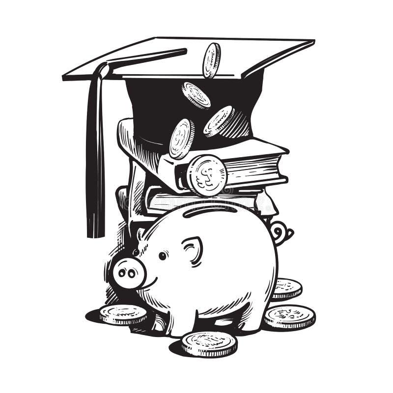 Kreskówki prosiątka bank z skalowanie kapeluszem, spada pieniądze, sterta książki ilustracji