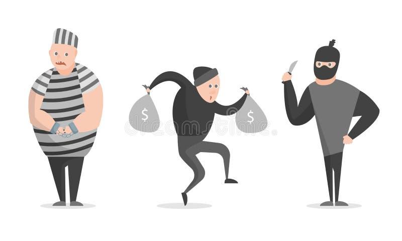 Kreskówki przestępstwo, bandyta, złodziejów charakterów ikony set wektor royalty ilustracja
