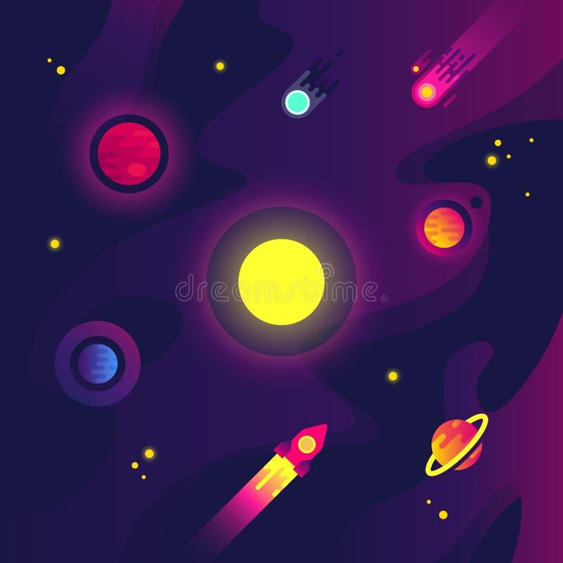 Kreskówki przestrzeń z statkiem kosmicznym, małymi planetami, meteorytem i gwiazdą w nocnym niebie, Płaski nauka wektoru tło ilustracji
