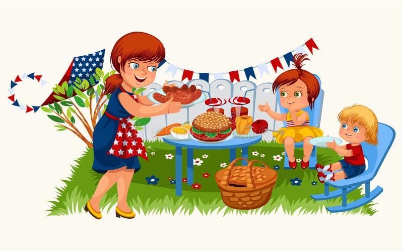 Kreskówki przewożenia miedzianowłosy macierzysty talerz z smakowitym jedzeniem ilustracja wektor