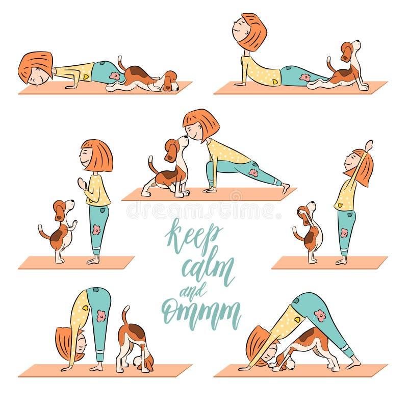 Kreskówki psi beagle z dziewczyną robi joga royalty ilustracja