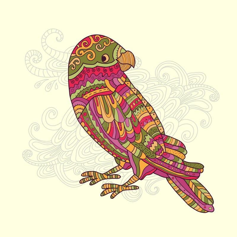 Kreskówki pstrobarwna tropikalna papuga ilustracja wektor