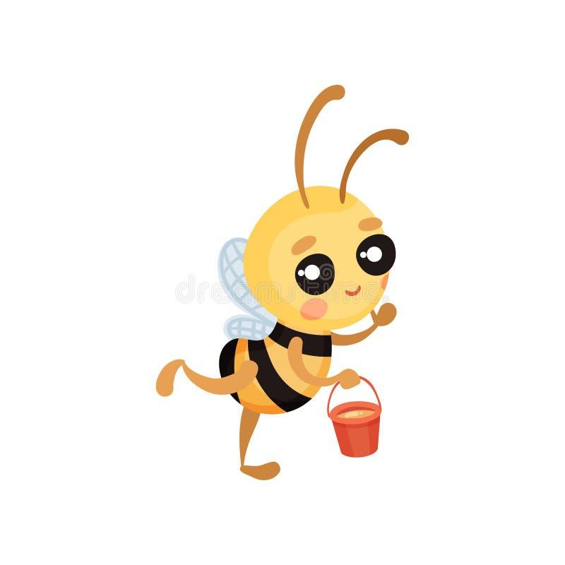 Kreskówki pszczoła lata z wiadrem miód w jego rękach r?wnie? zwr?ci? corel ilustracji wektora ilustracja wektor