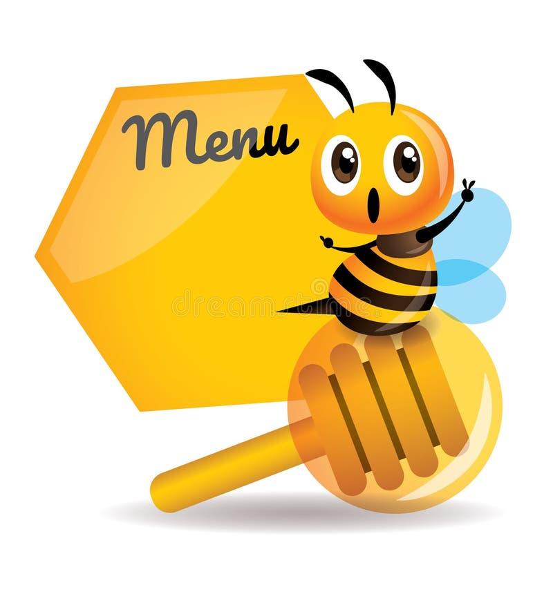 Kreskówki pszczoły śliczny obsiadanie na miodowej chochli z dużą menu deską ilustracji