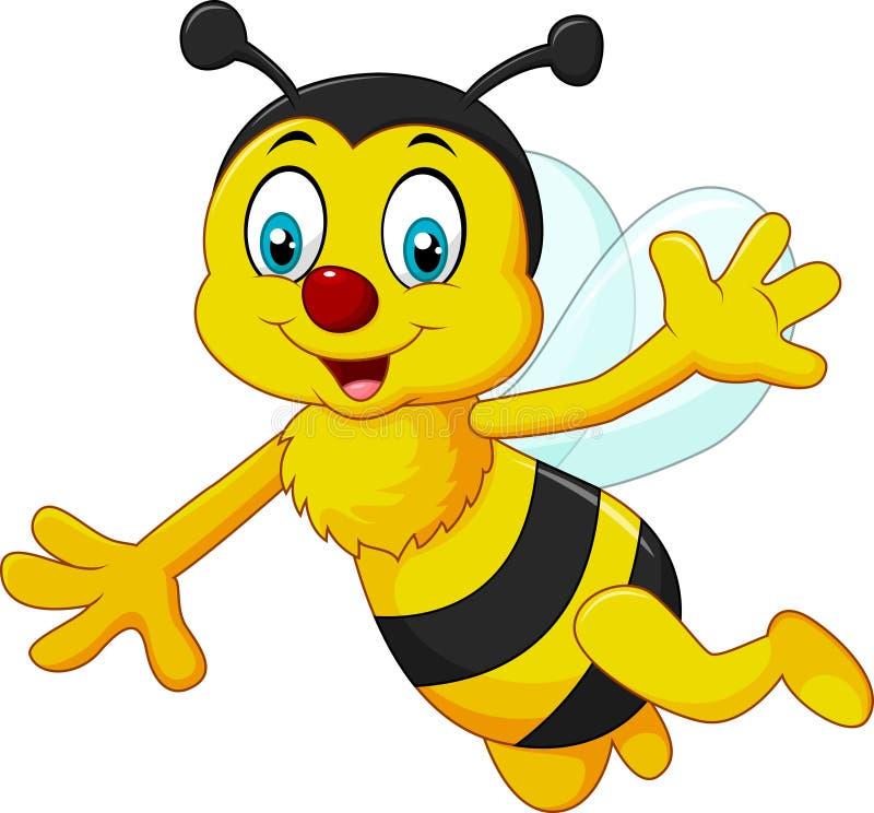 Kreskówki pszczoły falowania ręka odizolowywająca na białym tle royalty ilustracja