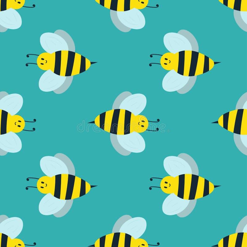 Kreskówki pszczoły lata pracownika pluskwy natury słodka żółta ręka rysujący bezszwowy deseniowy miodowy nector ilustracja wektor
