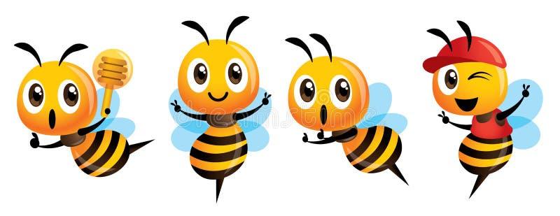 Kreskówki pszczoły maskotki śliczne serie w secie royalty ilustracja