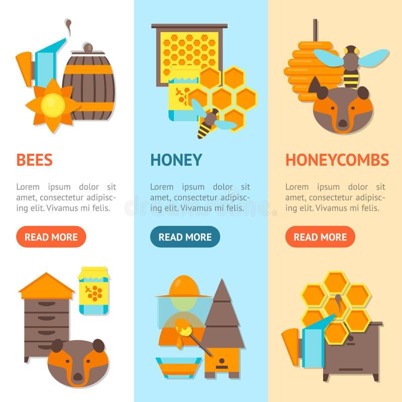 Kreskówki pszczoły sztandaru Vecrtical set wektor royalty ilustracja