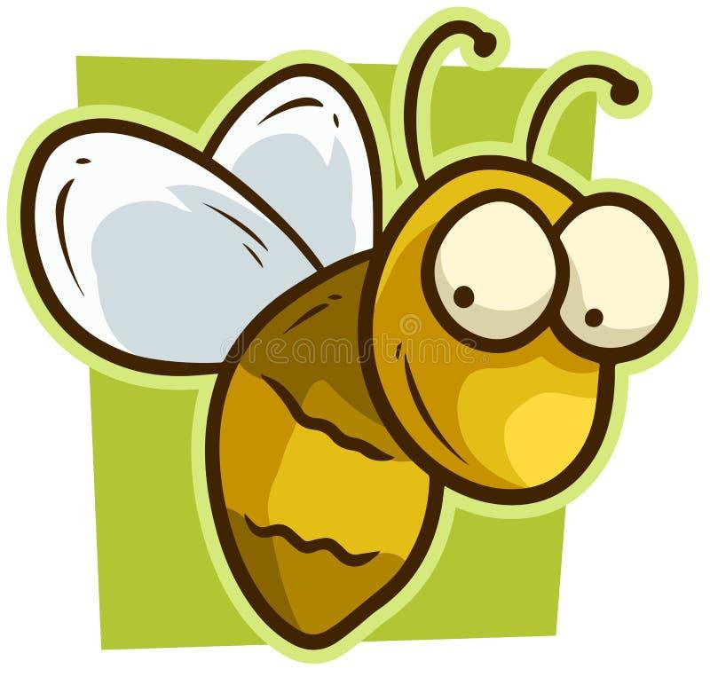 Kreskówki pszczoły wektoru śliczna żółta uśmiechnięta ikona royalty ilustracja