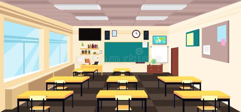 Kreskówki pusta sala lekcyjna, szkoły średniej izbowy wnętrze z biurkami i blackboard, Edukacja wektoru pojęcie royalty ilustracja