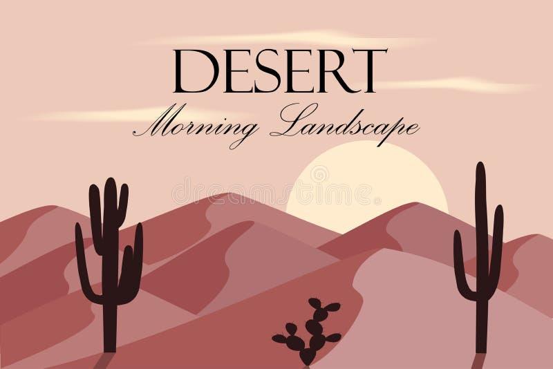 Kreskówki pustyni krajobraz z dunas i kaktusem ilustracji