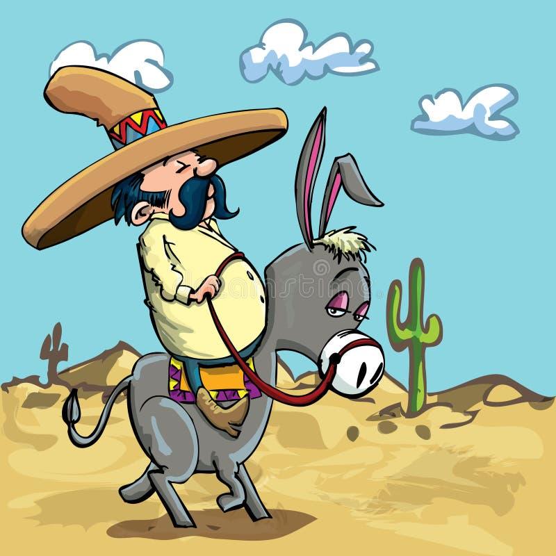 kreskówki pustynna osła meksykanina jazda ilustracji