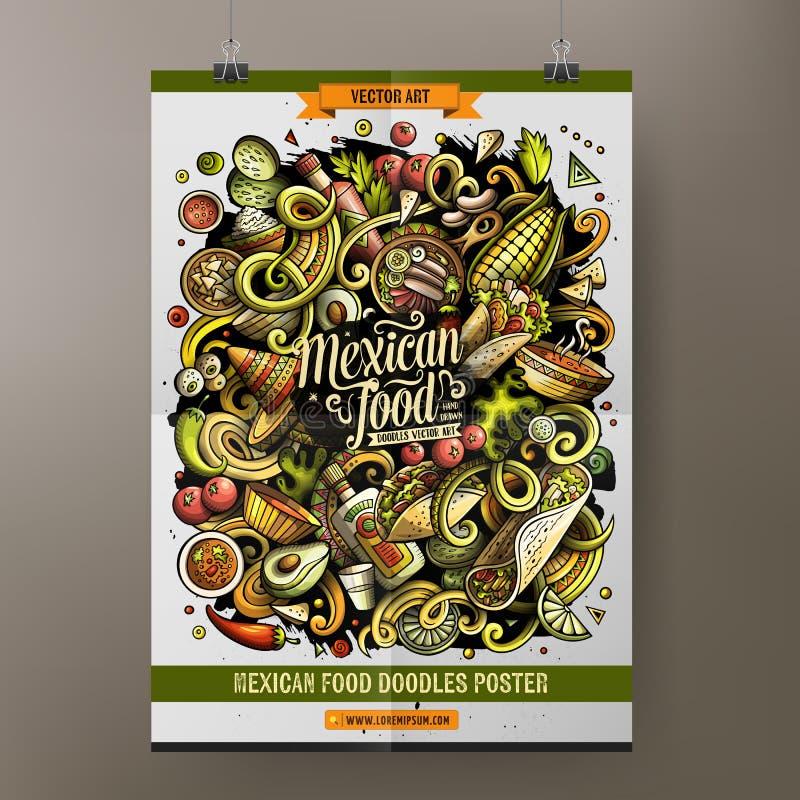 Kreskówki ręka rysująca doodles Meksykańskiego karmowego plakatowego projekt ilustracja wektor