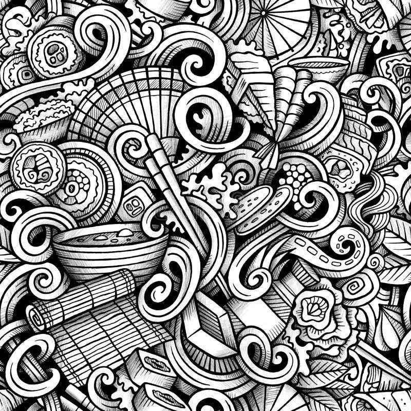 Kreskówki ręka rysujący japoński jedzenie doodles bezszwowego wzór ilustracja wektor