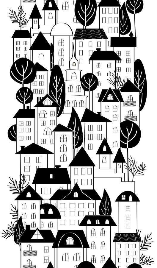 Kreskówki ręka rysuje grodzkich domy i drzewo bezszwową granicę czarny white ilustracji