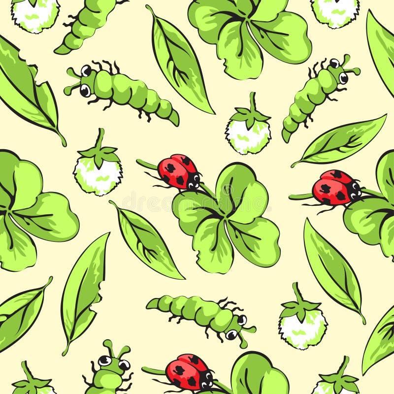 Kreskówki ręki ścigi rysunkowa biedronka, gąsienicy, liście i kwiaty koniczynowy bezszwowy wzór, wektorowy tło ilustracji