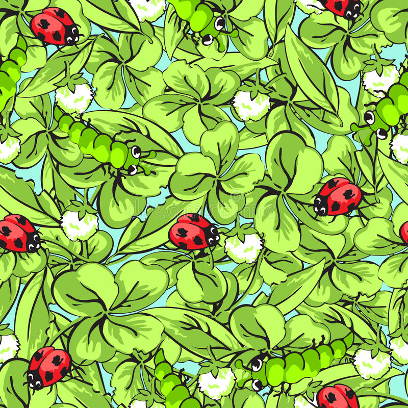 Kreskówki ręki ścigi rysunkowa biedronka, gąsienicy, liście i kwiaty koniczynowy bezszwowy wzór, wektorowy tło royalty ilustracja