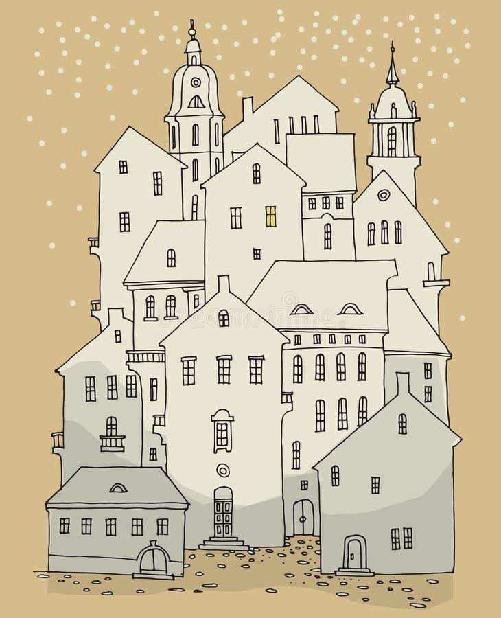 Kreskówki ręki rysunku domy, zima temat ilustracja wektor