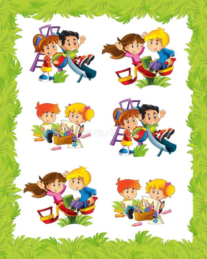 Kreskówki rama z dziećmi bawić się w różnych sytuacjach ilustracji