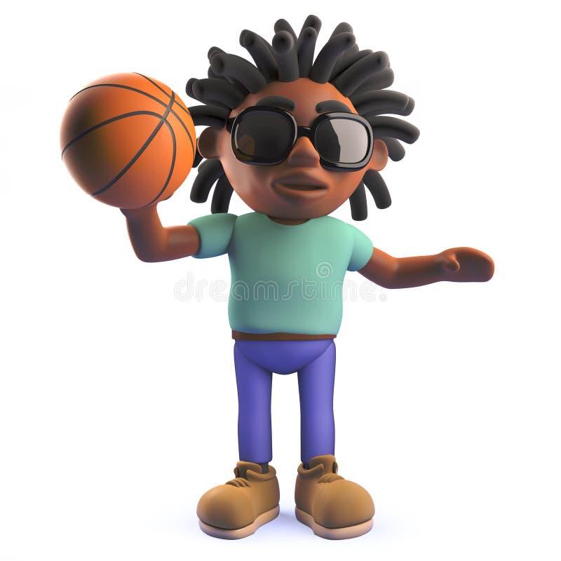 Kreskówki Rastafarian Afrykański mężczyzna bawić się koszykówkę w 3d ilustracji