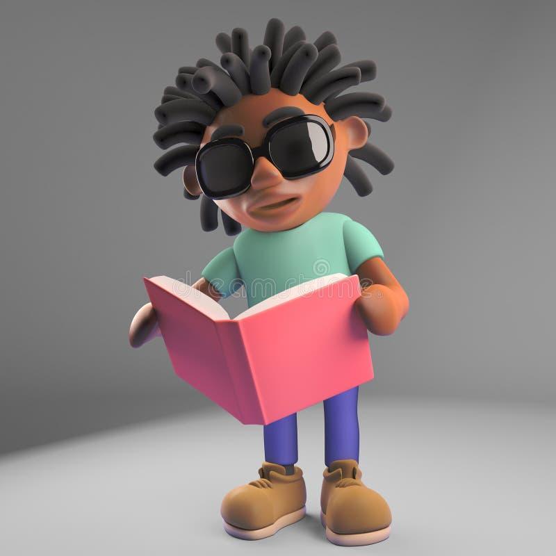 Kreskówki rastafarian amerykanin afrykańskiego pochodzenia czyta książkę, 3d ilustracja ilustracja wektor