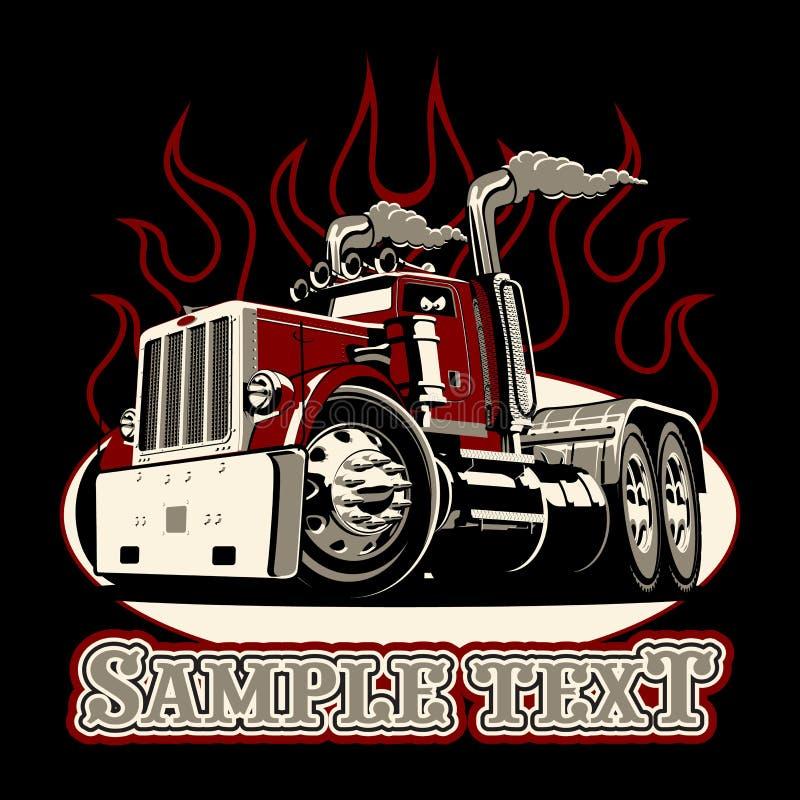Kreskówki retro ciężarówka semi ilustracja wektor