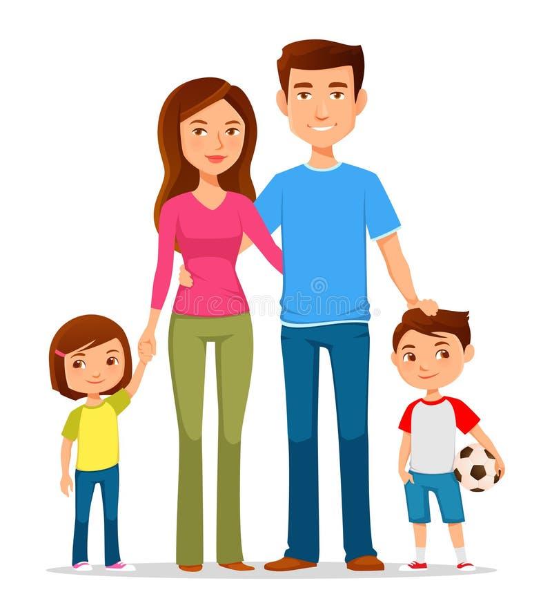 Kreskówki rodzina w kolorowych przypadkowych ubraniach ilustracji