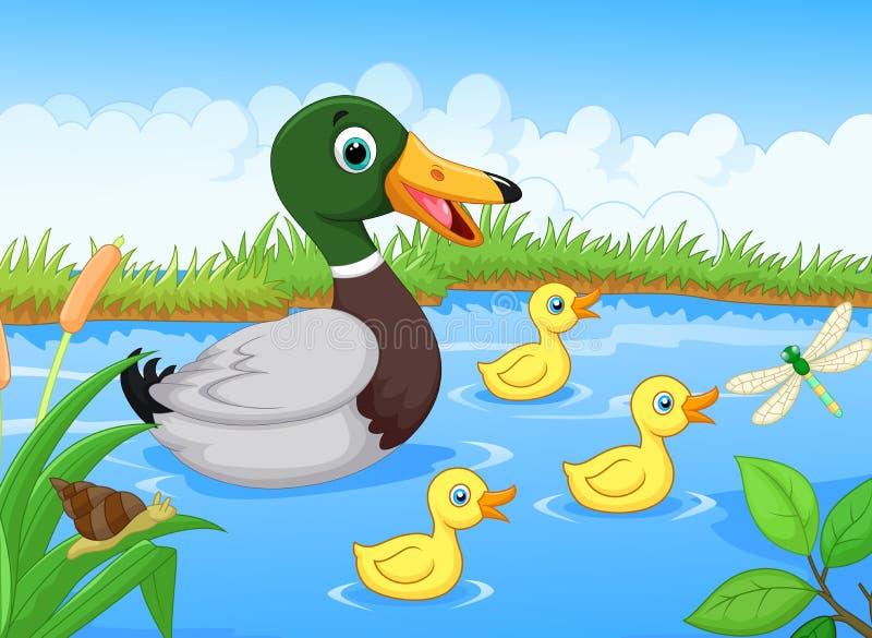 Kreskówki rodzinna kaczka ilustracja wektor