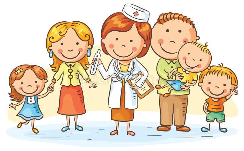 Kreskówki Rodzinna lekarka royalty ilustracja