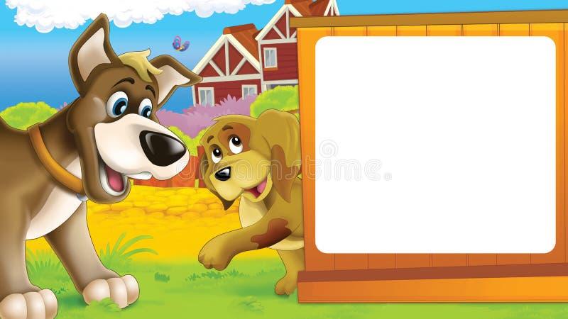 Kreskówki rolna scena z różnymi zwierzętami - życzliwi psy ilustracji