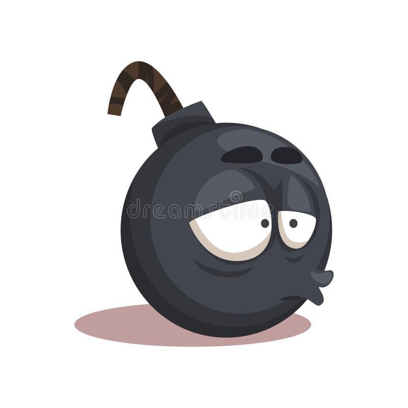 Kreskówki round śmieszna bomba Charakter z zaakcentowanym twarzy wyrażeniem Wektorowy projekt dla ogólnospołecznych środków, gona ilustracji