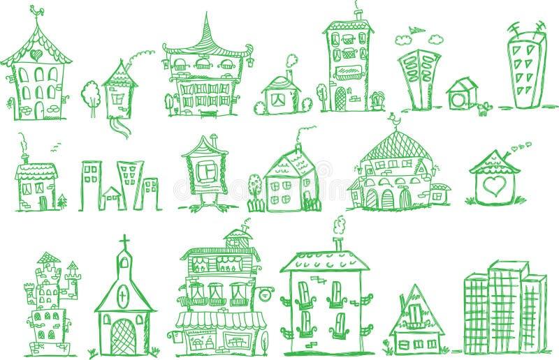 kreskówki rysunku ręki domów wektor ilustracja wektor