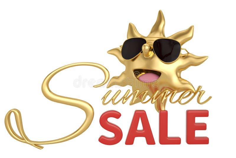 Kreskówki słońca i lato sprzedaży słowo odizolowywający na białym tle 3D royalty ilustracja