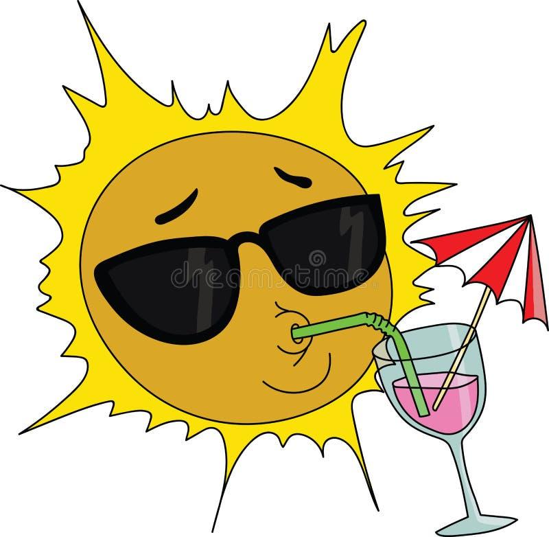 Kreskówki słońca maskotka jest ubranym słońc szkła i pije koktajlu wektor ilustracja wektor