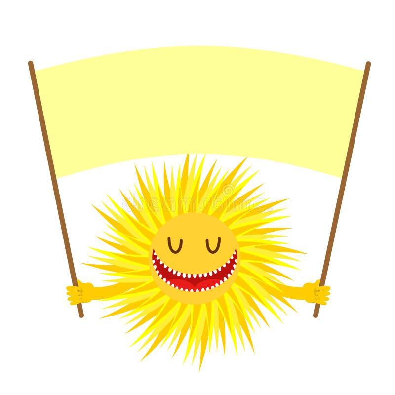 Kreskówki słońca uśmiech Śmieszny Żółty słońce Trzyma znaka dla teksta ilustracji