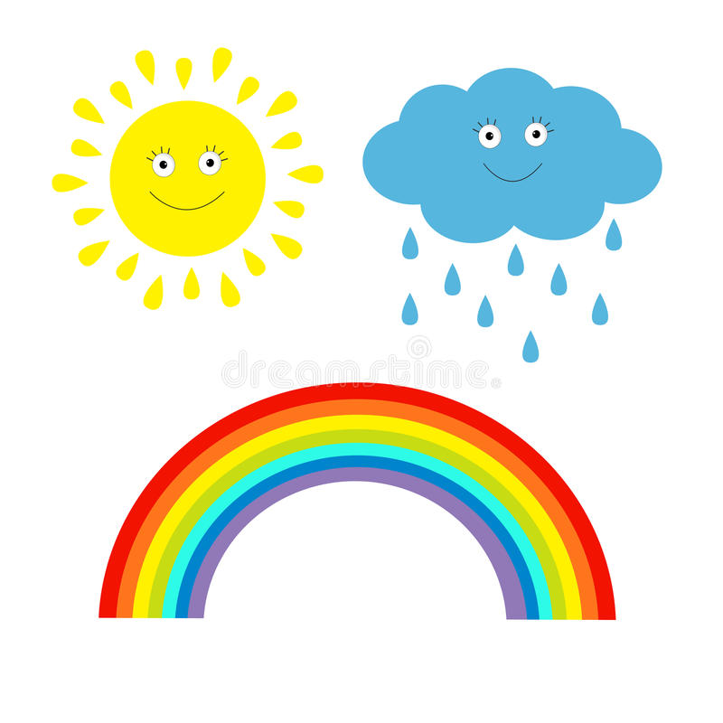 Kreskówki słońce, chmura z deszczem i tęcza set. Odosobniony. Dzieci ilustracji