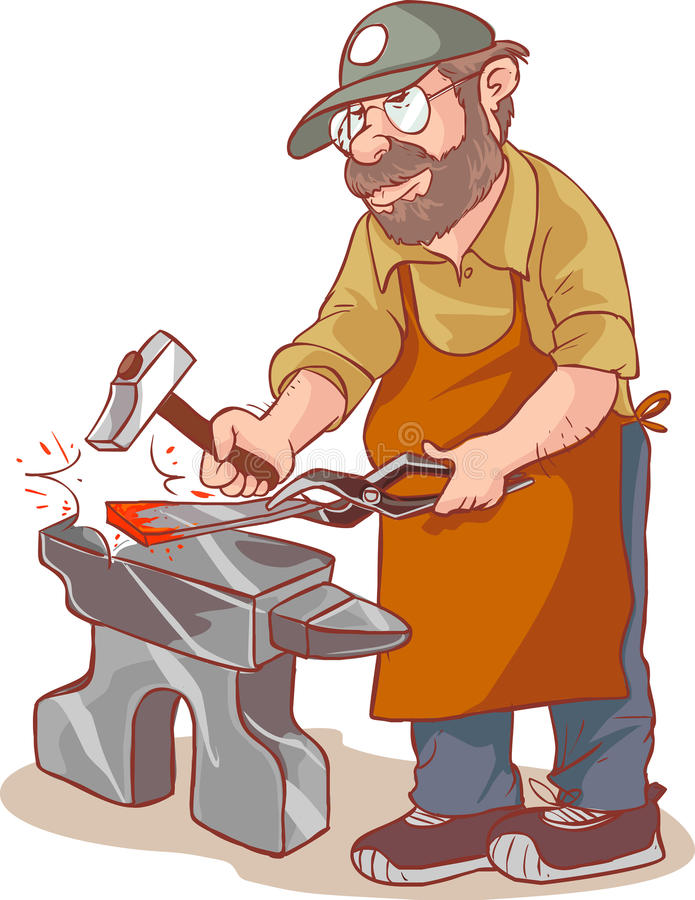Kreskówki samiec blacksmith ilustracja wektor
