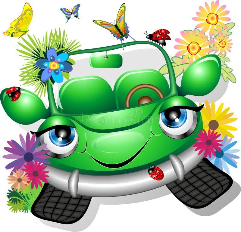 kreskówki samochodowa zieleń ilustracja wektor