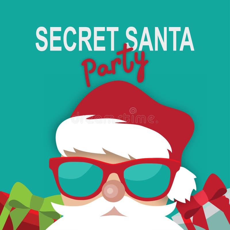 Kreskówki Santa przyjęcia szablonu Tajny projekt na błękitnym tle ilustracja wektor