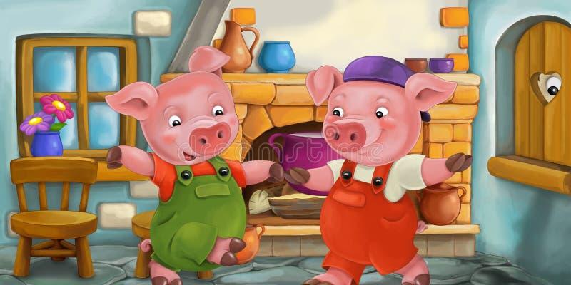Kreskówki scena świnia w kuchni i dopatrywanie my przyglądamy się w drewnianym okno royalty ilustracja