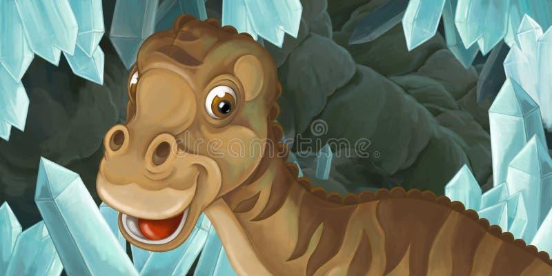 Kreskówki scena jama z dużym dinosaura maiasaura i kryształami ilustracji