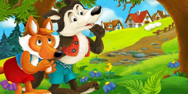 Kreskówki scena lis i wilczy planowanie robić coś blisko wioski ilustracja wektor