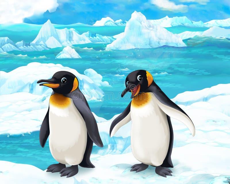 Kreskówki scena pingwiny - arktyczni zwierzęta - ilustracja wektor