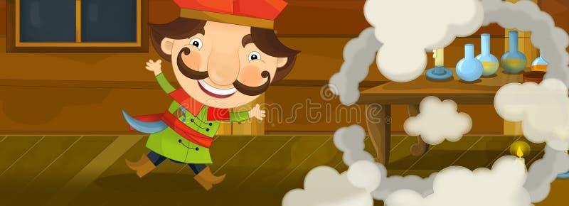 Kreskówki scena robi niektóre dymowi i magii nobil pojawiać się royalty ilustracja